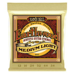 ERNIEBALL Earthwood Medium Light 80/20 Bronze Acoustic Guitar Strings 012-054 Gauge