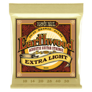 ERNIEBALLEarthwood Extra Light 80/20 Bronze Acoustic Guitar Strings 10-050 Gauge