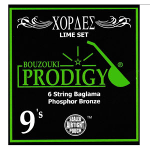 PRODIGY Lime Set 0.09's Bronze For 6 String Baglama